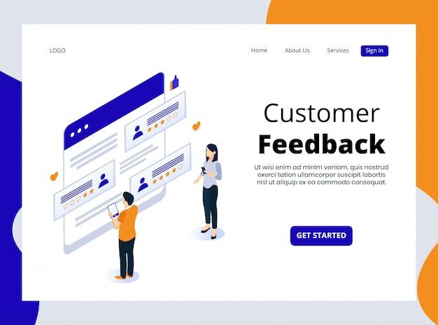 Pagina di destinazione isometrica del feedback dei clienti