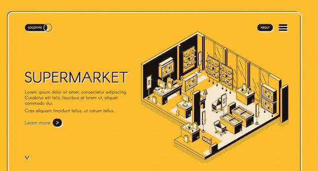 Pagina di destinazione isometrica del supermercato interno negozio vuoto