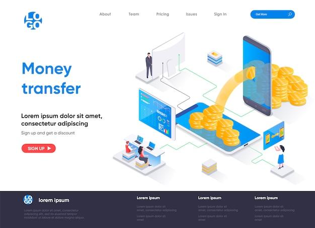 Pagina di destinazione isometrica del trasferimento di denaro