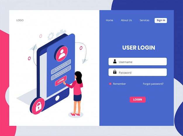 Pagina di destinazione isometrica dell'accesso utente