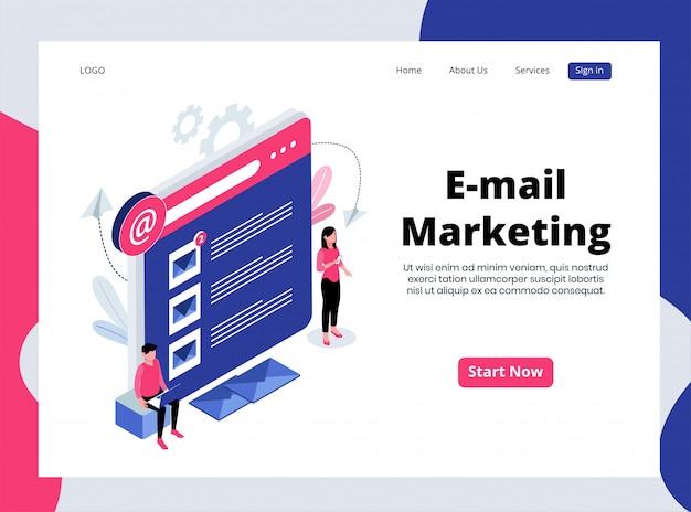Pagina di destinazione isometrica dell'email marketing