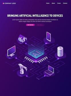 Pagina di destinazione isometrica dell'intelligenza artificiale, ai