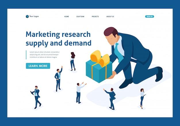 Pagina di destinazione isometrica della ricerca di marketing di prodotto di concetto utilizzando focus group.