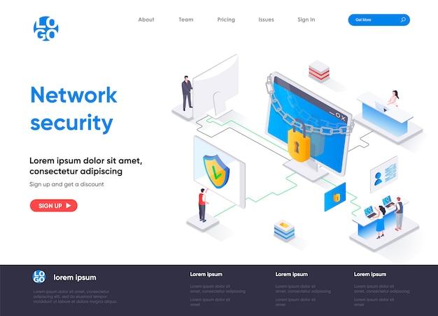 Pagina di destinazione isometrica della sicurezza di rete