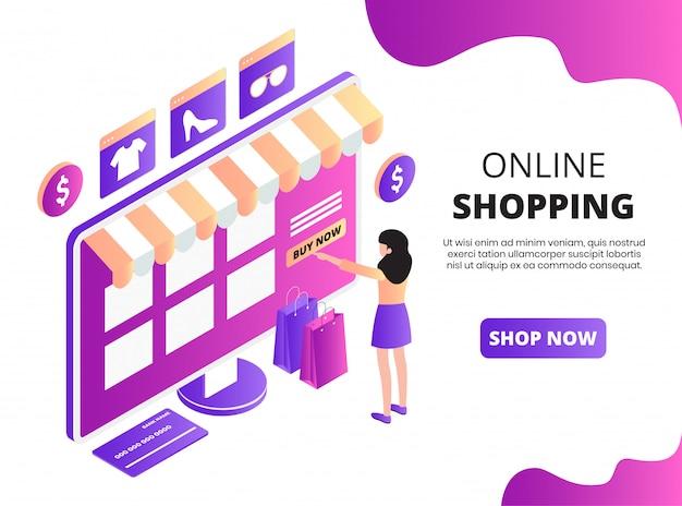Pagina di destinazione isometrica dello shopping online