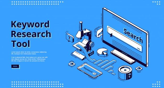 Pagina di destinazione isometrica dello strumento di ricerca per parole chiave.
