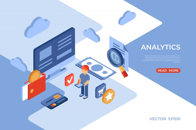Pagina di destinazione isometrica di analisi dei negozi online