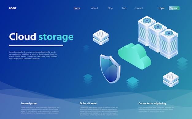 Pagina di destinazione isometrica di cloud computing o archiviazione