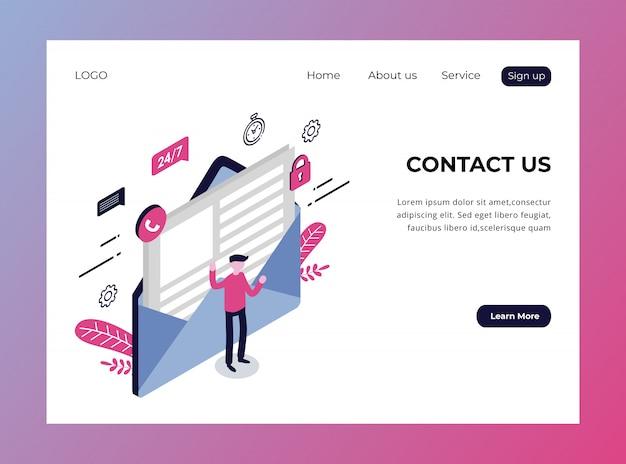 Pagina di destinazione isometrica di contattaci