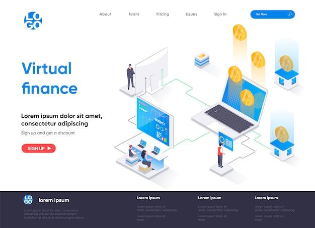 Pagina di destinazione isometrica di finanza virtuale