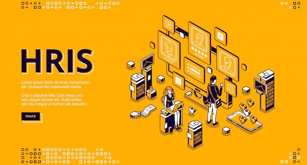 Pagina di destinazione isometrica di hris. tecnologia delle risorse umane