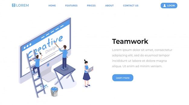 Pagina di destinazione isometrica di lavoro di squadra di web designer.