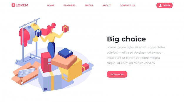 Pagina di destinazione isometrica di scelta del negozio online