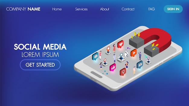 Pagina di destinazione isometrica di social media marketing con carattere.magnet marketing pubblicitario