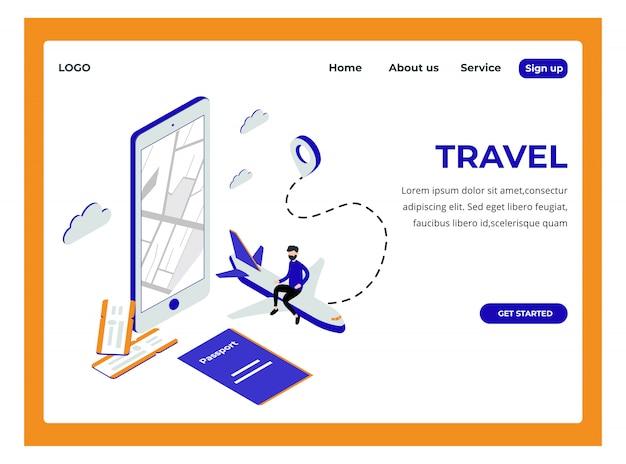 Pagina di destinazione isometrica di viaggio