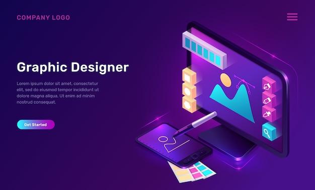 Pagina di destinazione isometrica graphic designer, banner