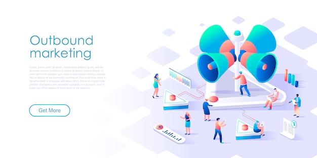 Pagina di destinazione isometrica marketing in uscita o concetto piatto di pubblicità