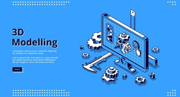 Pagina di destinazione isometrica modellistica 3d. progetto del modello dell'ingegnere di cad sullo schermo del desktop del computer con i rifornimenti di costruzione intorno. programma software per pc, progetto tecnico, banner web line art