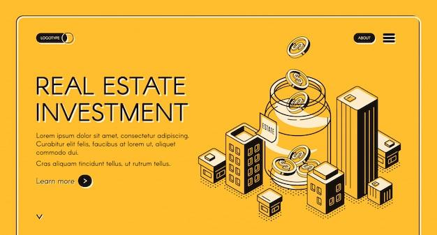 Pagina di destinazione isometrica per investimenti immobiliari