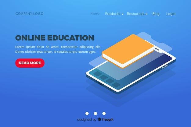 Pagina di destinazione isometrica per l'educazione online