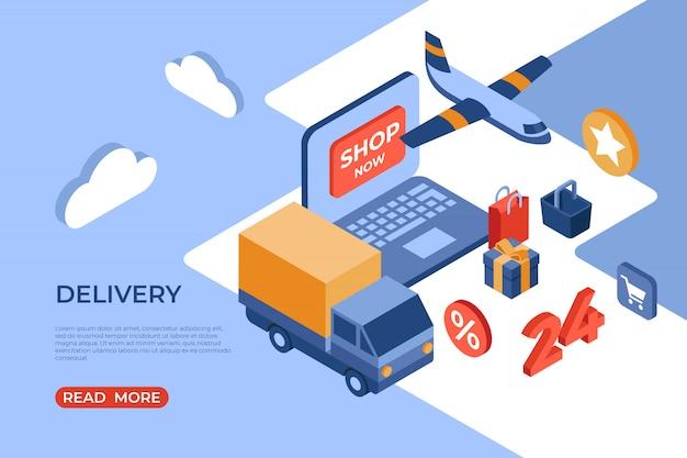 Pagina di destinazione isometrica per la consegna del negozio online
