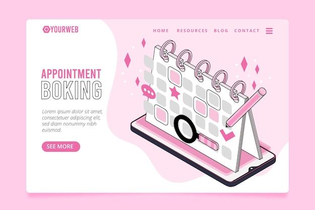 Pagina di destinazione isometrica per la prenotazione dell'appuntamento