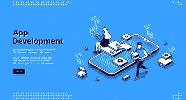 Pagina di destinazione isometrica per lo sviluppo di app mobili
