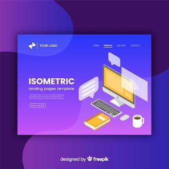Pagina di destinazione isometrica