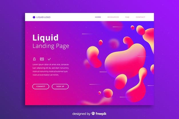 Pagina di destinazione liquida con liquido simile alla lava