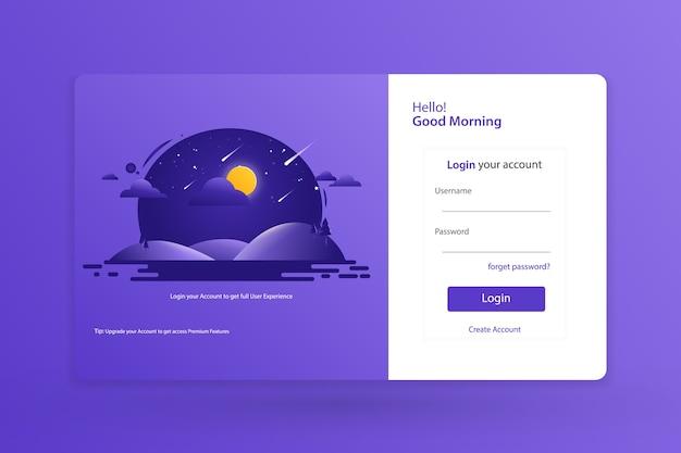 Pagina di destinazione login form template design