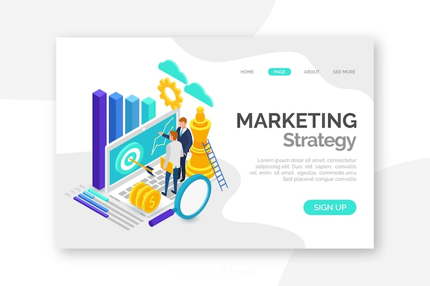 Pagina di destinazione marketing colorato isometrica