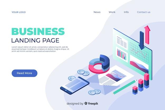 Pagina di destinazione marketing in stile isometrico