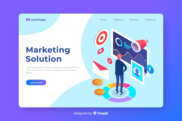 Pagina di destinazione marketing isometrica