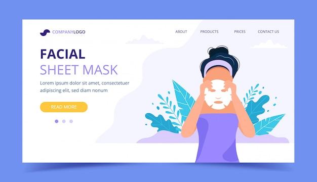 Pagina di destinazione maschera foglio facciale.