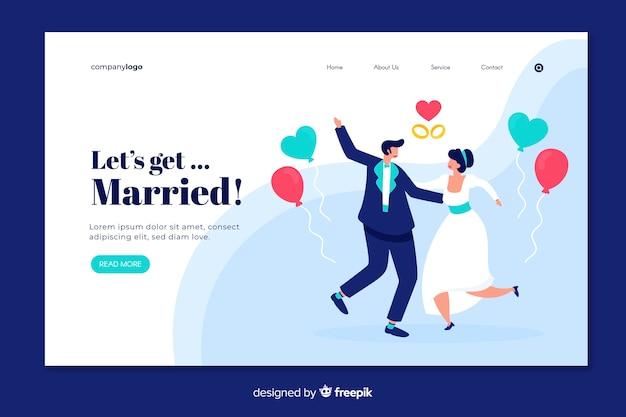 Pagina di destinazione matrimonio disegnata a mano