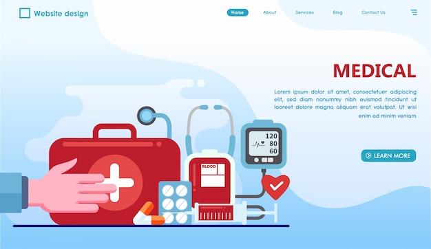 Pagina di destinazione medica in stile piatto