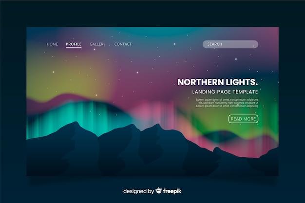 Pagina di destinazione modello aurora boreale