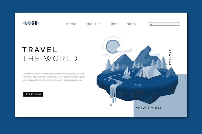 Pagina di destinazione modello di viaggio sul classico colore blu