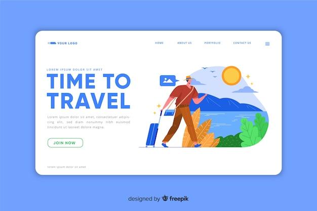 Pagina di destinazione modello di viaggio