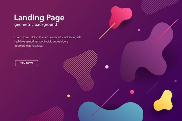 Pagina di destinazione modello moderno sfondo design liquido, banner e poster futuristici