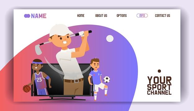 Pagina di destinazione, modello web. giocare a golf con attrezzature come giocatori di club e palloni, calcio e basket in piedi sullo schermo della tv.