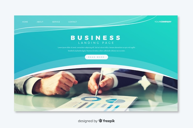 Pagina di destinazione moderna di affari con foto