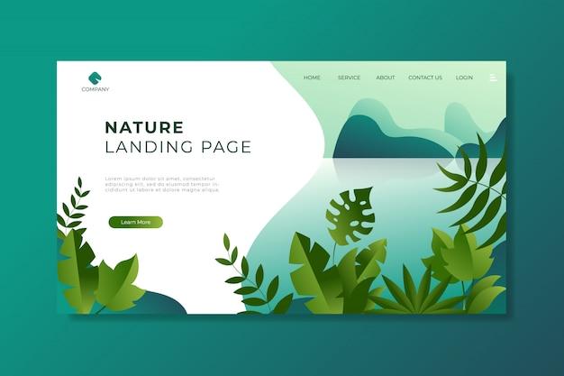 Pagina di destinazione natura con bellissimo lago e foglie