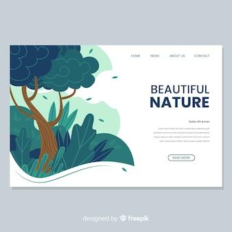 Pagina di destinazione natura con disegno ad albero