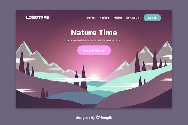Pagina di destinazione natura con paesaggio