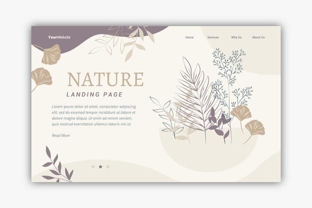 Pagina di destinazione natura disegnata a mano modello