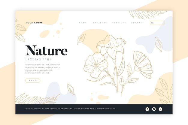 Pagina di destinazione natura disegnata a mano