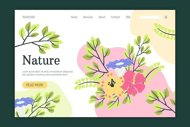 Pagina di destinazione natura modello disegnato a mano