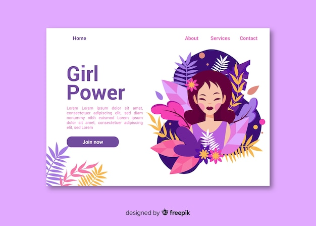Pagina di destinazione natura ragazza potere