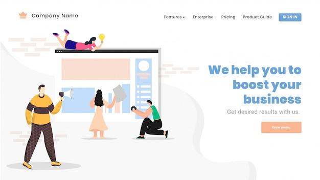 Pagina di destinazione o banner web design con uomini d'affari che lavorano insieme sul sito web